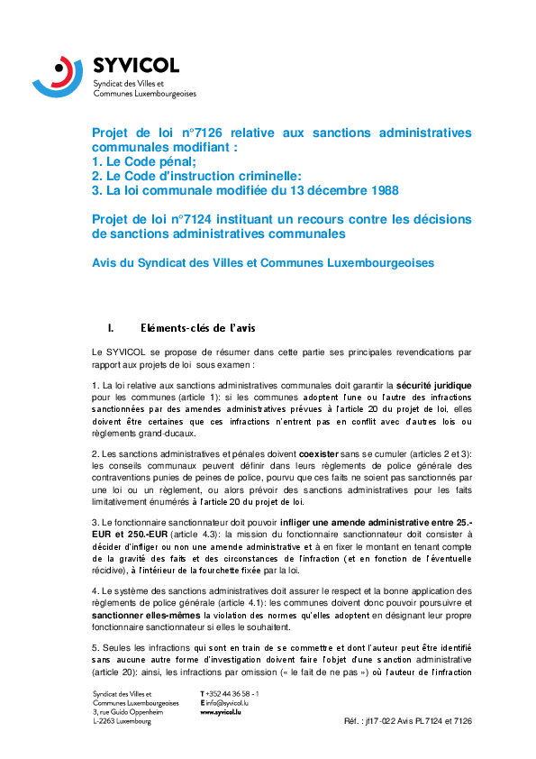 Sanctions administratives communales (7126) et recours contre les décisions de sanctions administratives communales (7124)