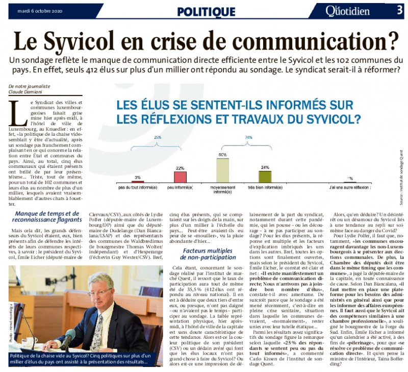 Le SYVICOL en crise de communication? - (Le Quotidien - 06.10.2020)