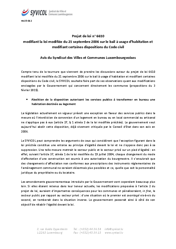 Bail à usage d'habitation et modification de certaines dispositions du Code civil (6610)