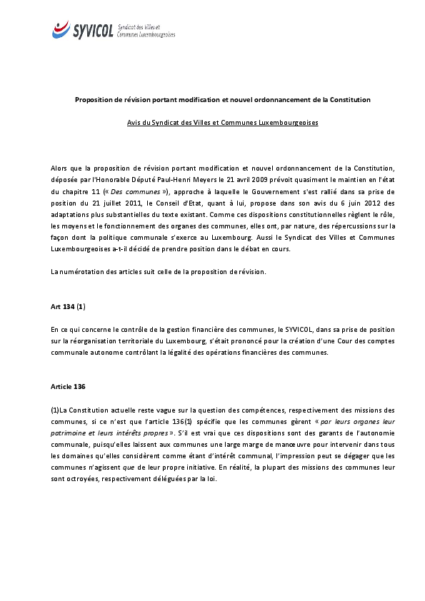 Proposition de révision portant modification et nouvel ordonnancement de la Constitution